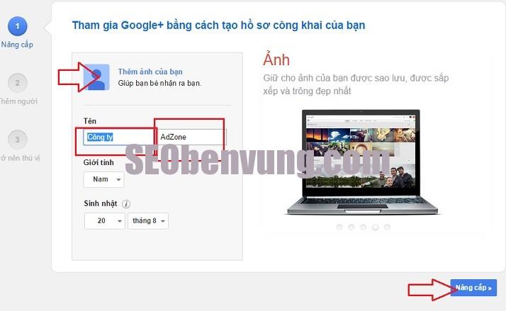 đặt back link google pluss